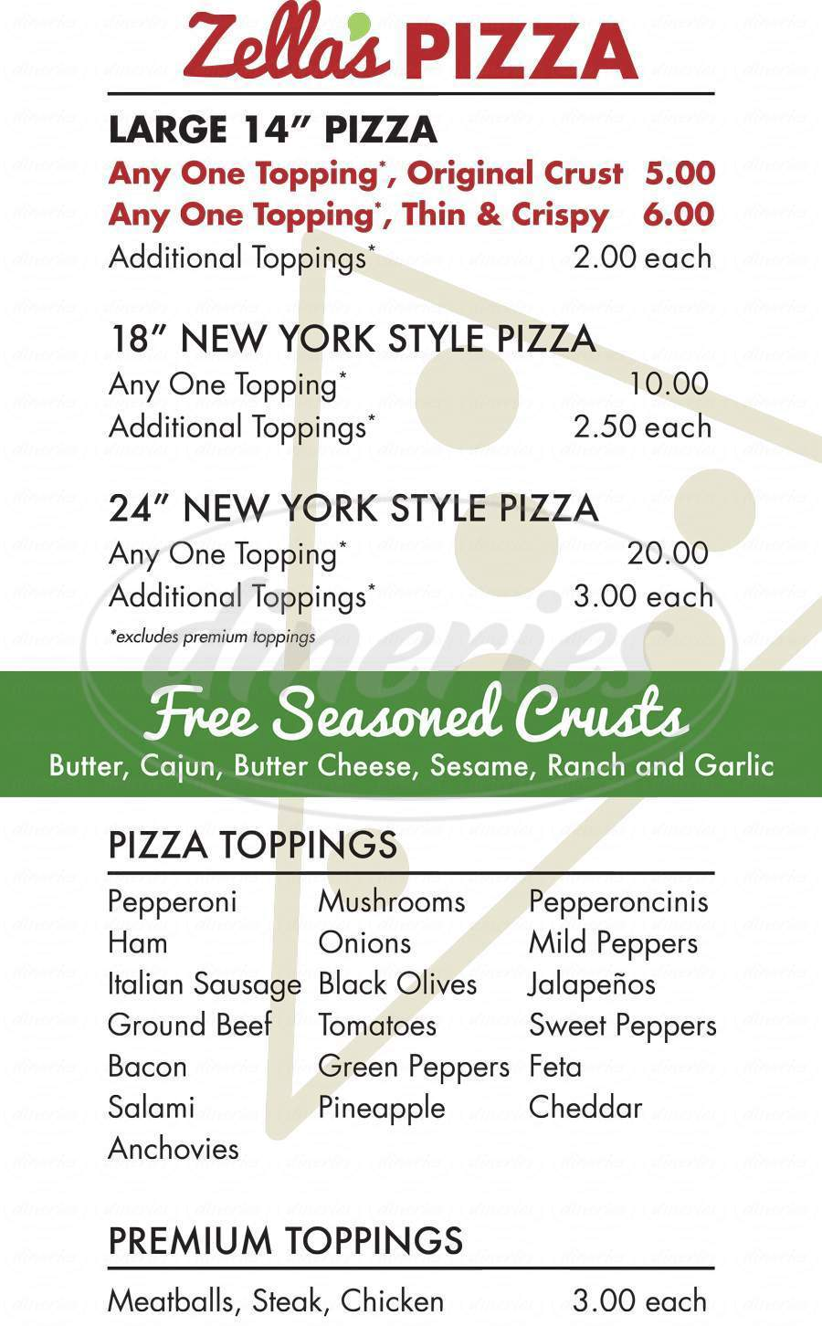 menu for Zella's Pizza And Cheesesteaks