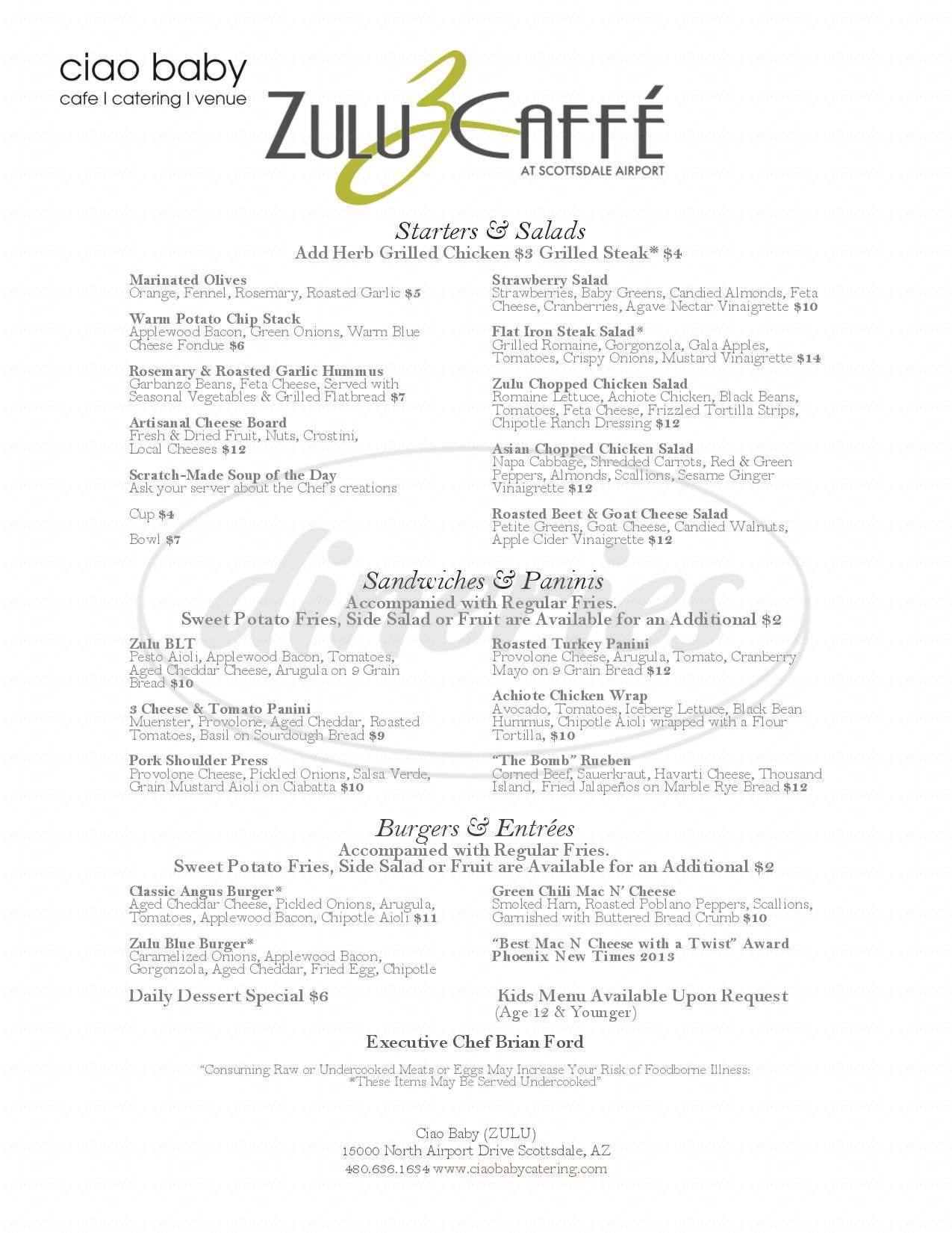 menu for Zulu Caffe