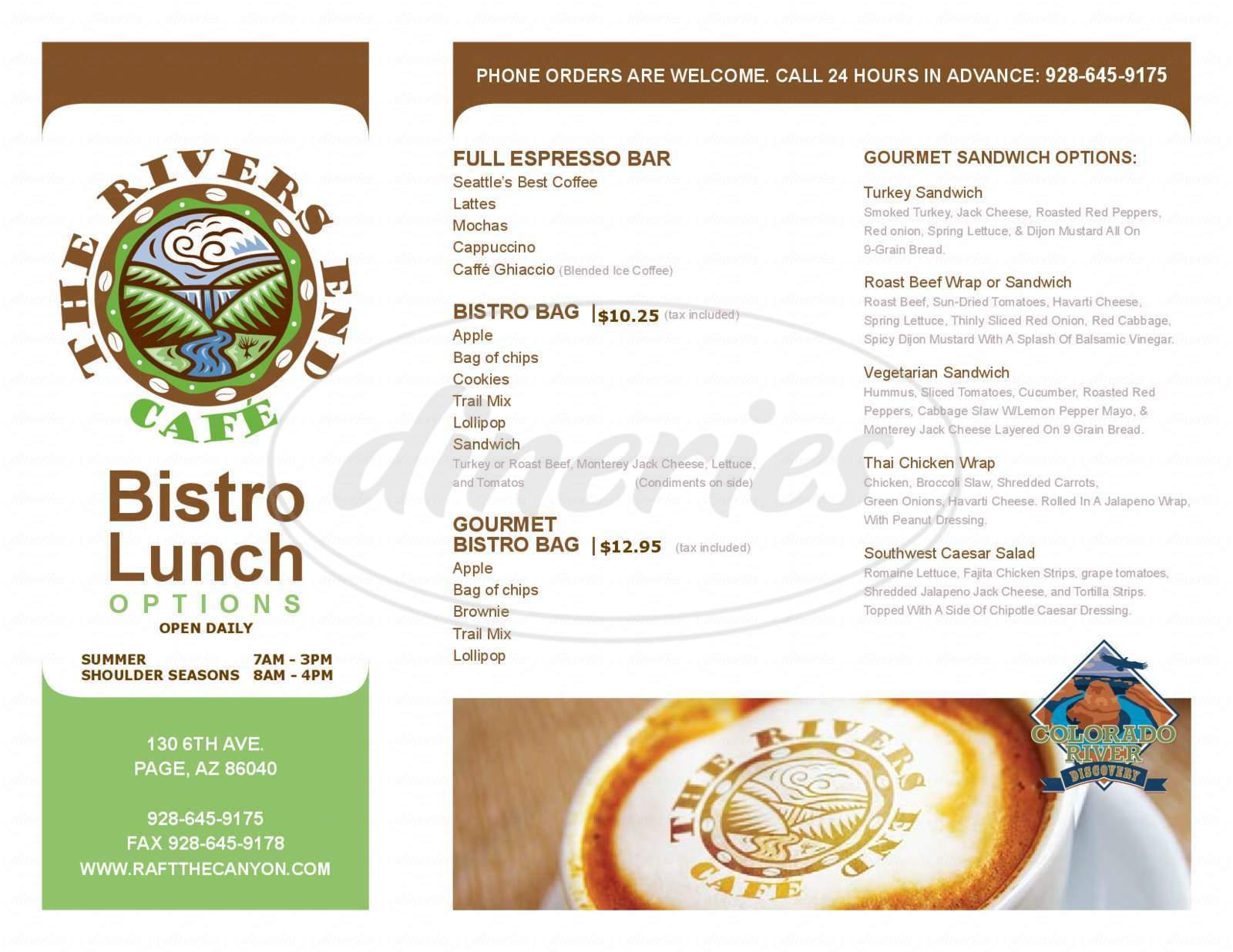 menu for River's End Cafe