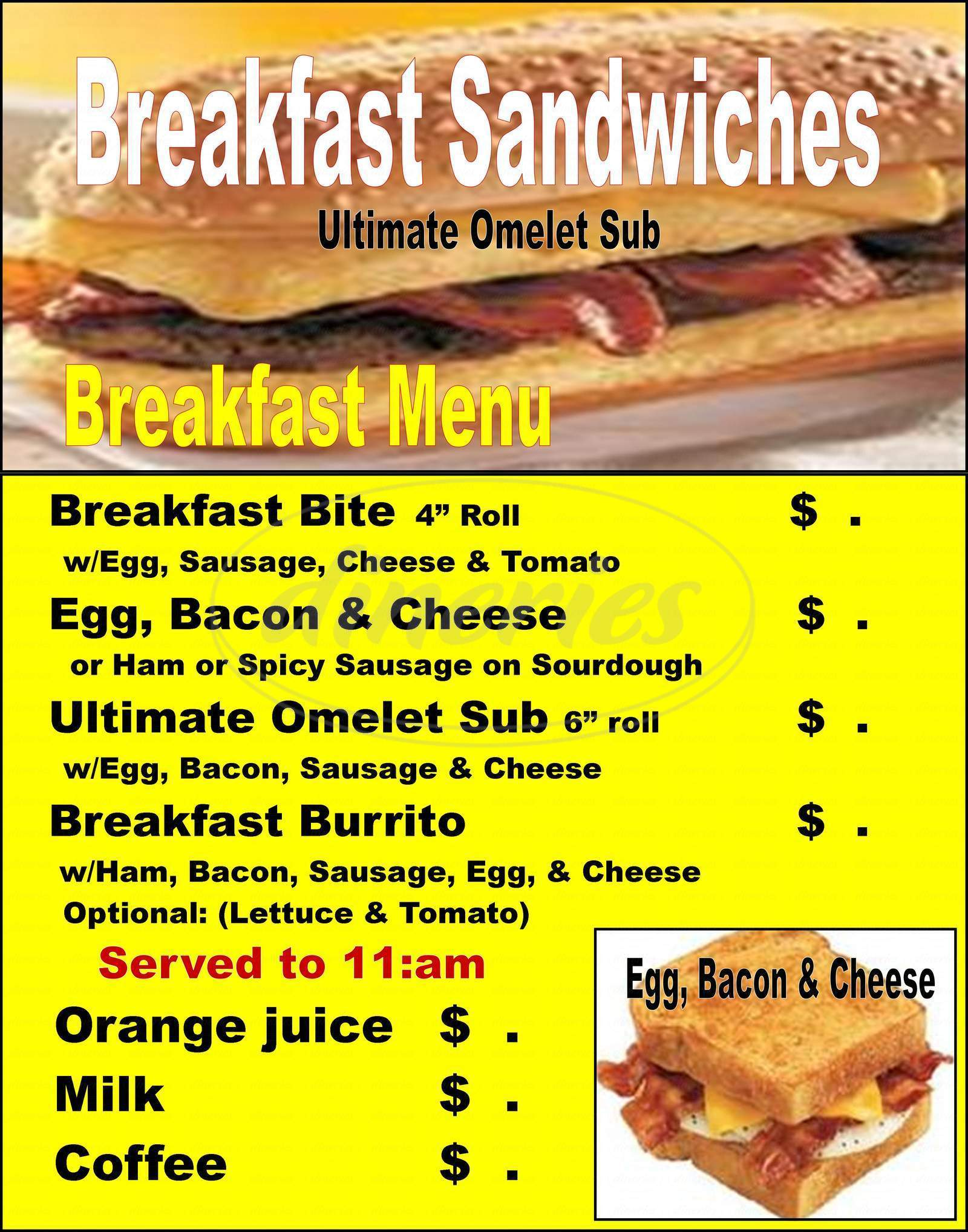 menu for Big Bellie Subs