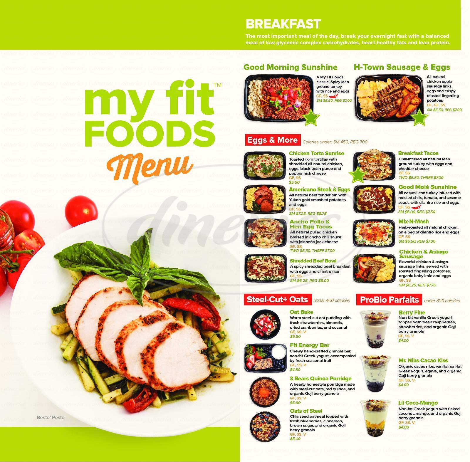 menu for My Fit Foods