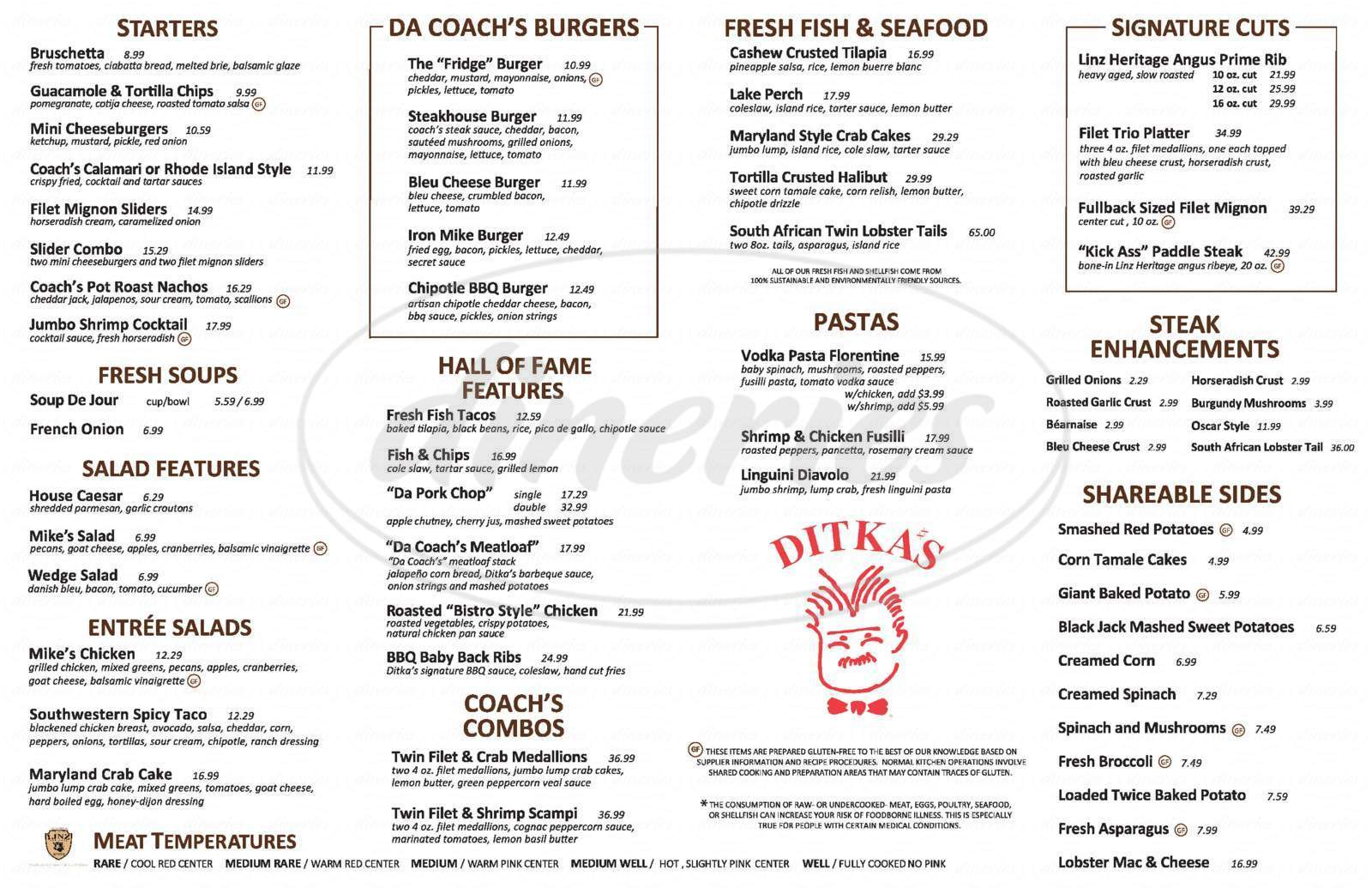 menu for Ditka's SteakHouse
