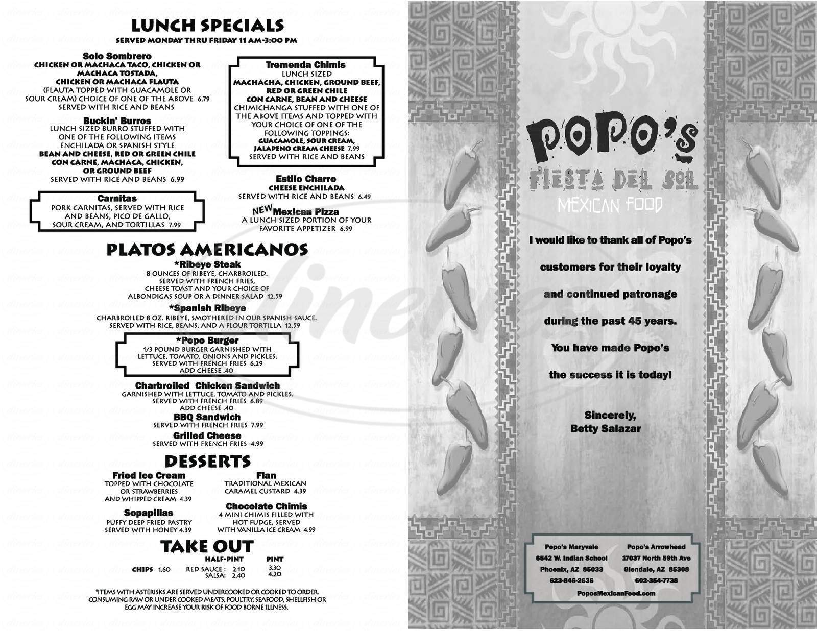 menu for Popo's Fiesta Del Sol