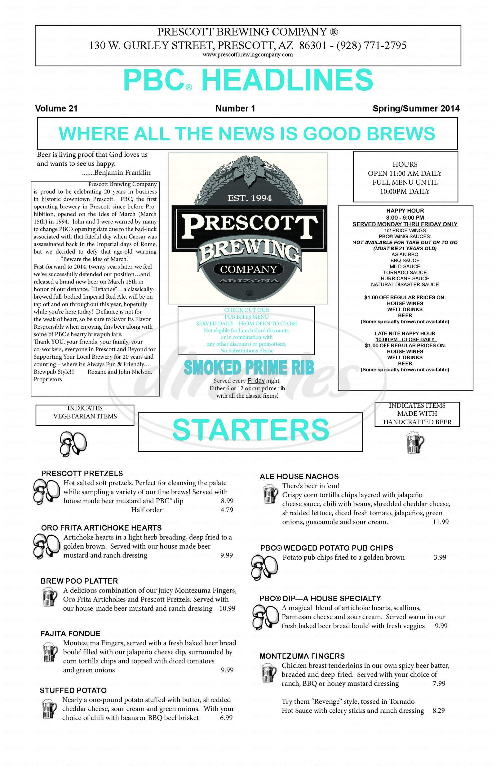 menu for Prescott Brewing Company