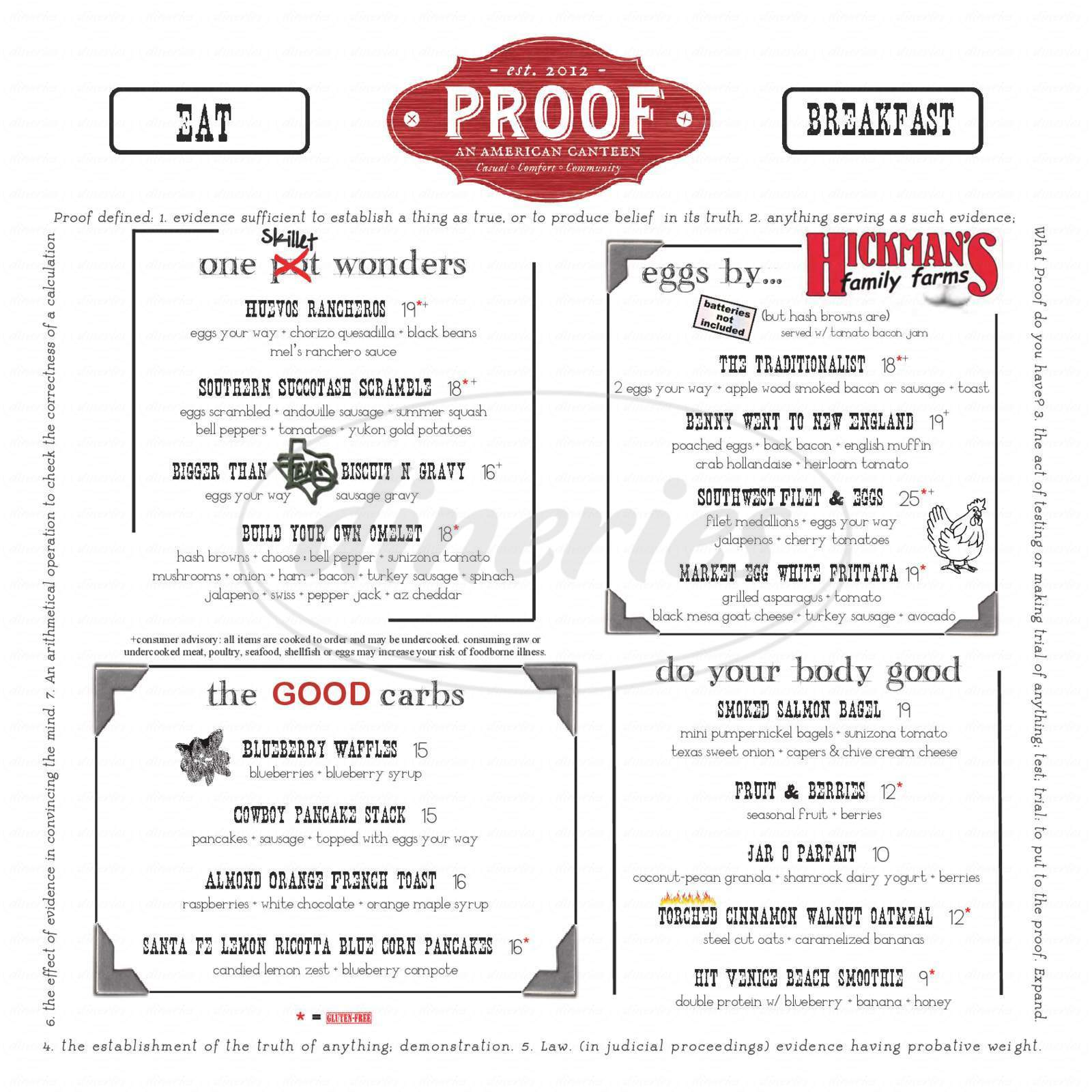 menu for Proof