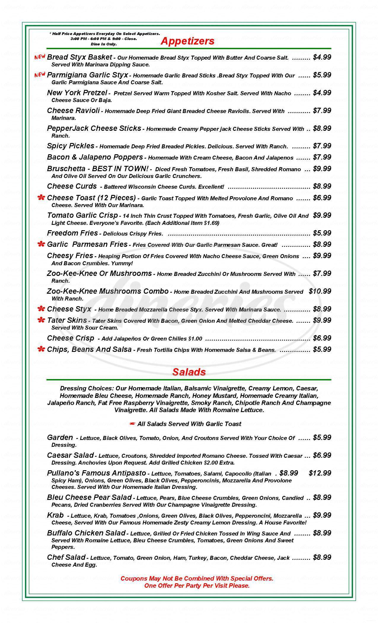 menu for Pullano's Pizza & Wings