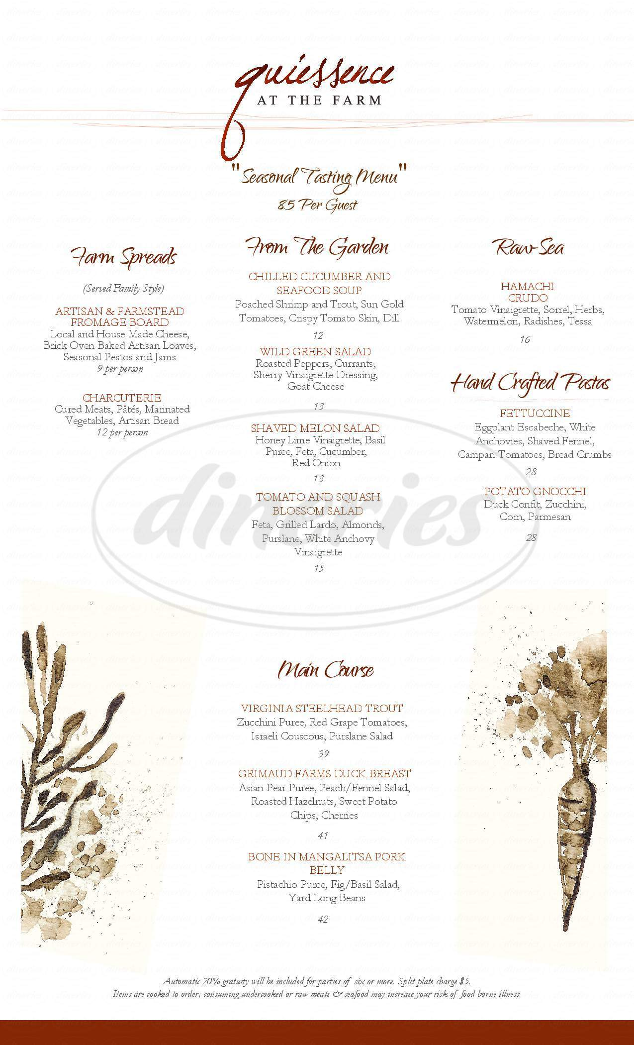 menu for Quiessence Restaurant