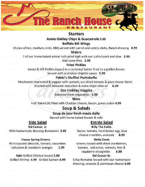 menu for Ranch House Restaurant Steaks & More