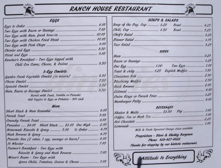menu for Ranch House At Yarnell