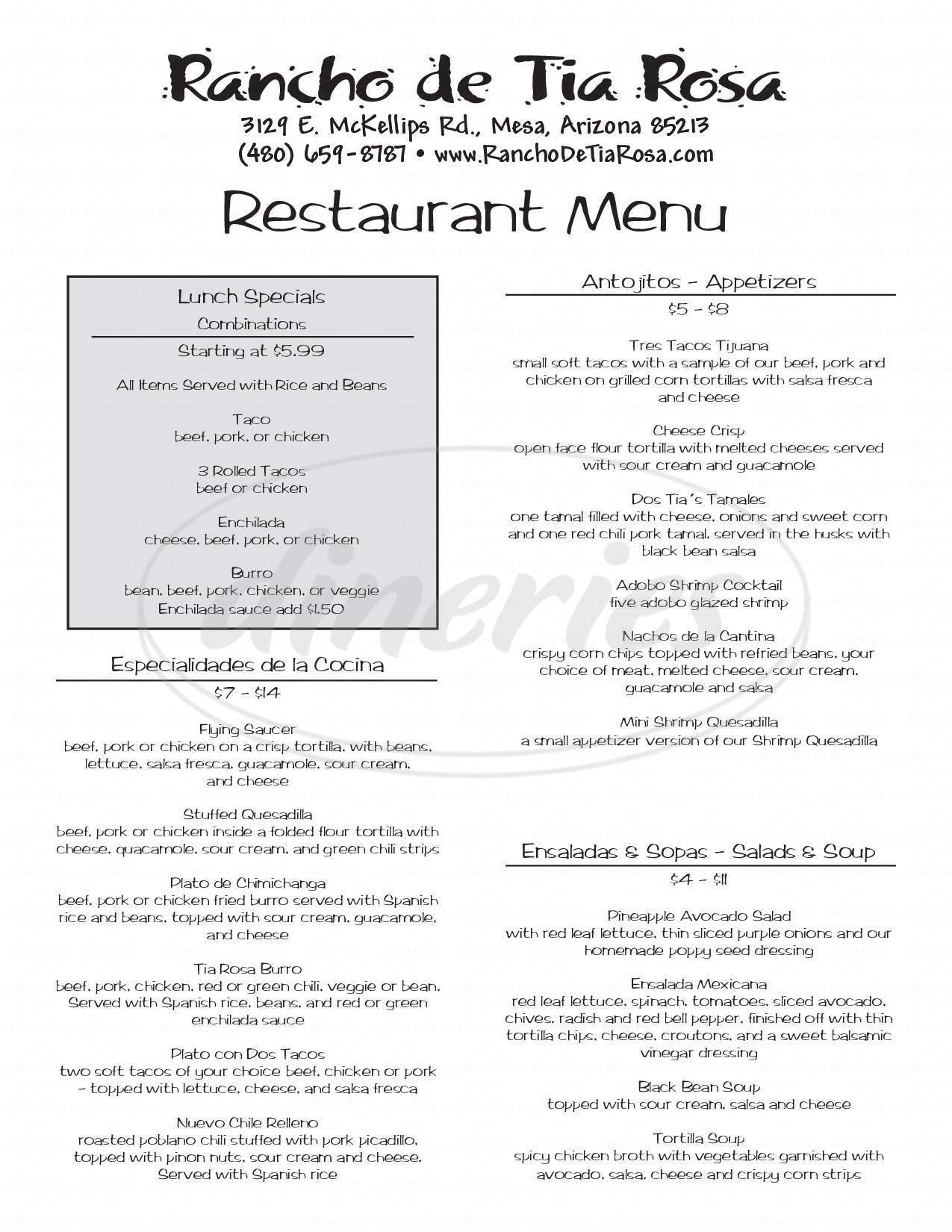 menu for Rancho De Tia Rosa