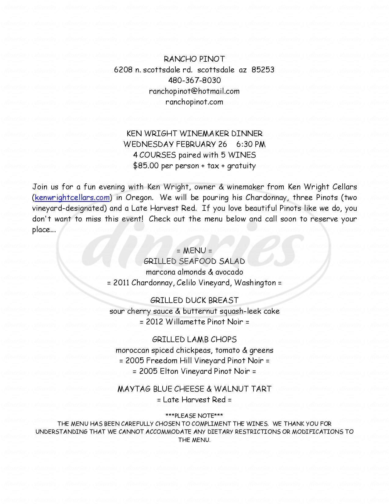 menu for Rancho Pinot Grill