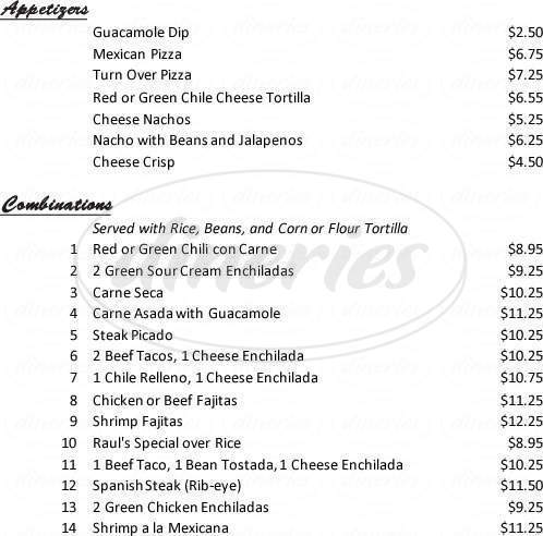 menu for Raul's Original