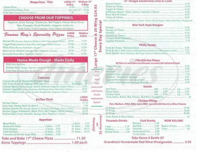menu for Rays Pizza