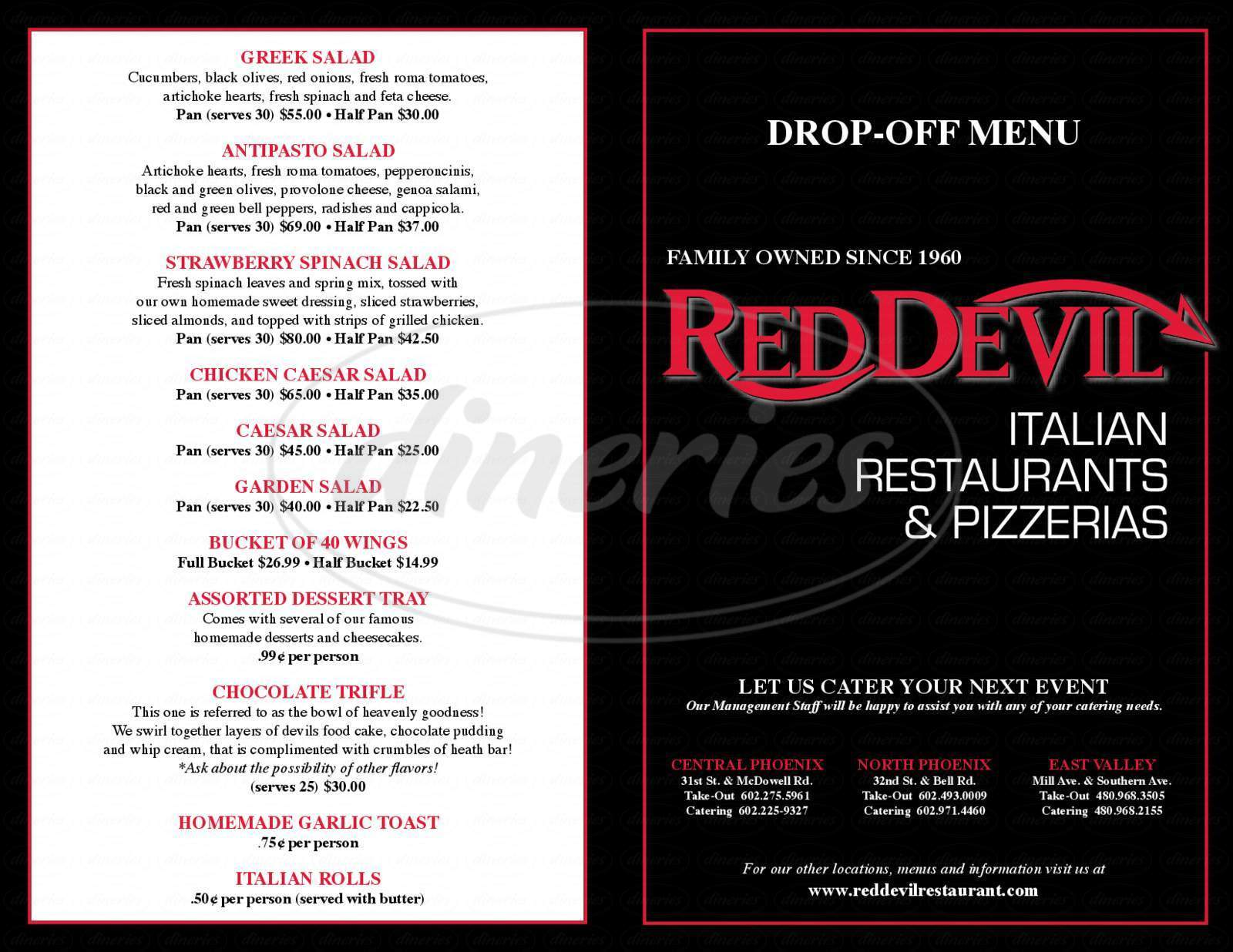 menu for Red Devil Italian Restaurant & Pizzeria