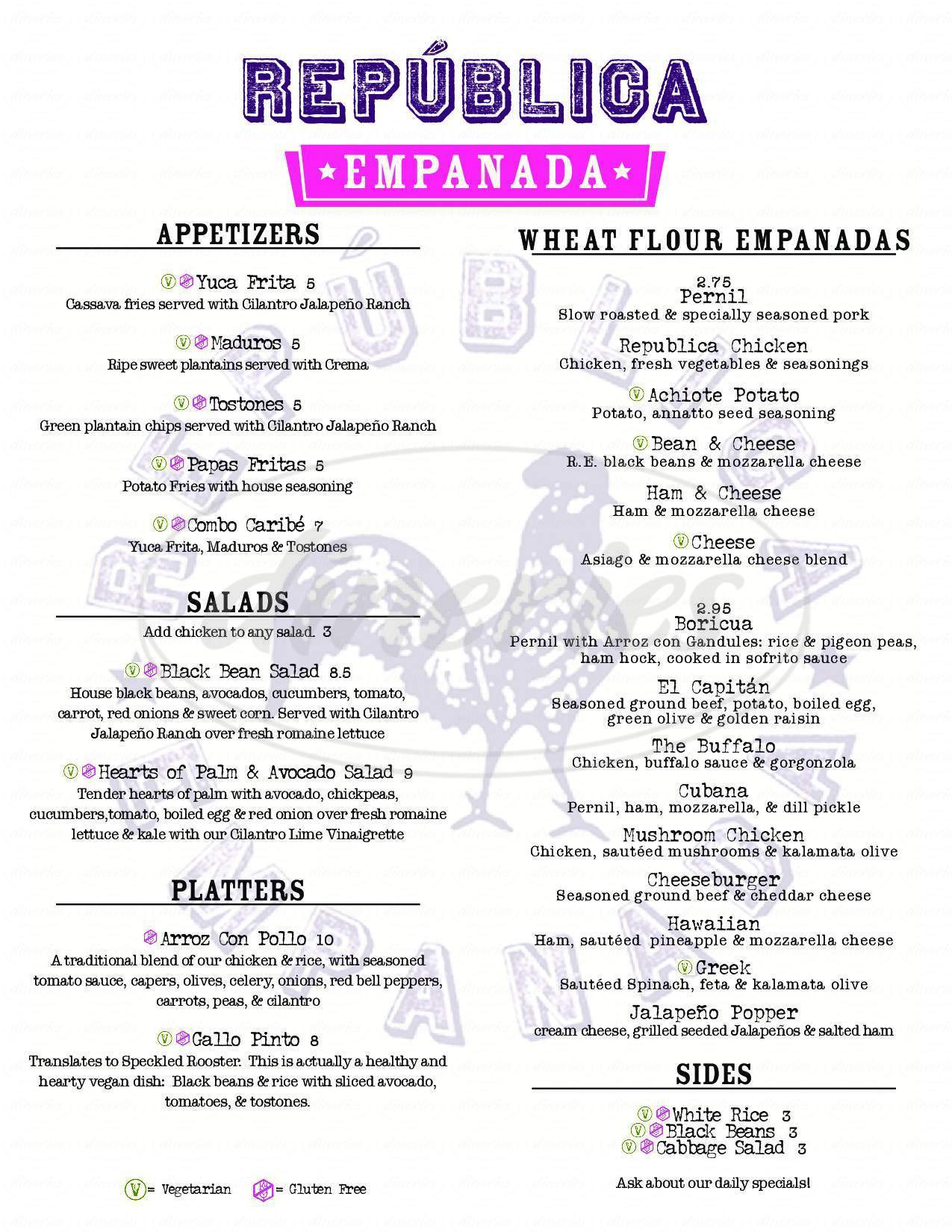 menu for Republica Empanada