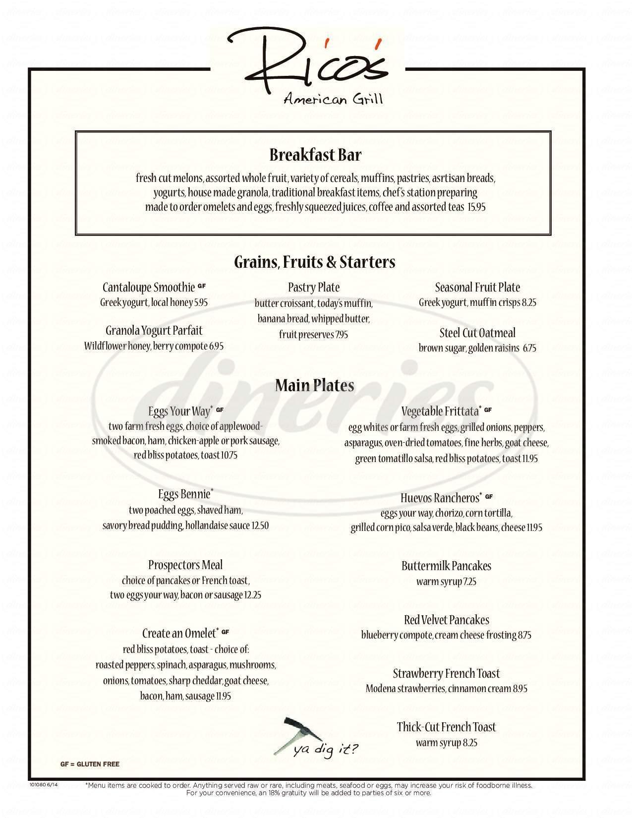 menu for Rico's American Grill