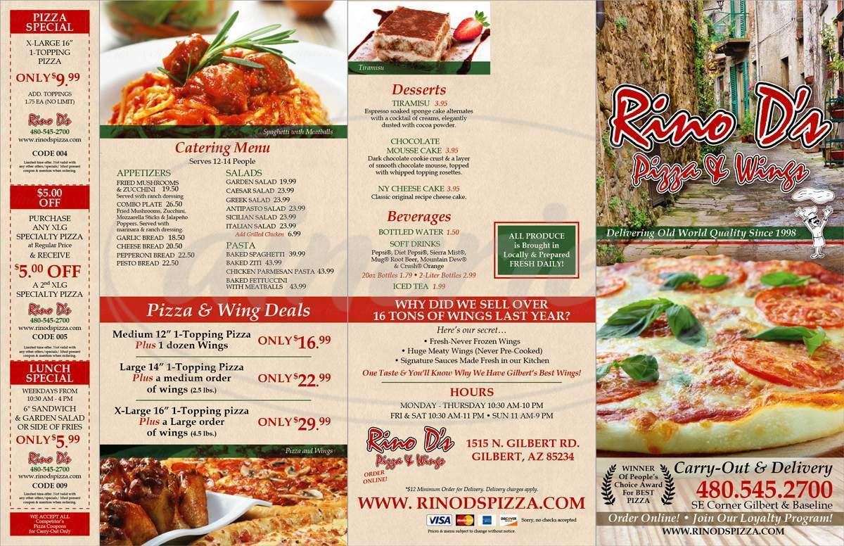menu for Rino D's Pizza & Wings