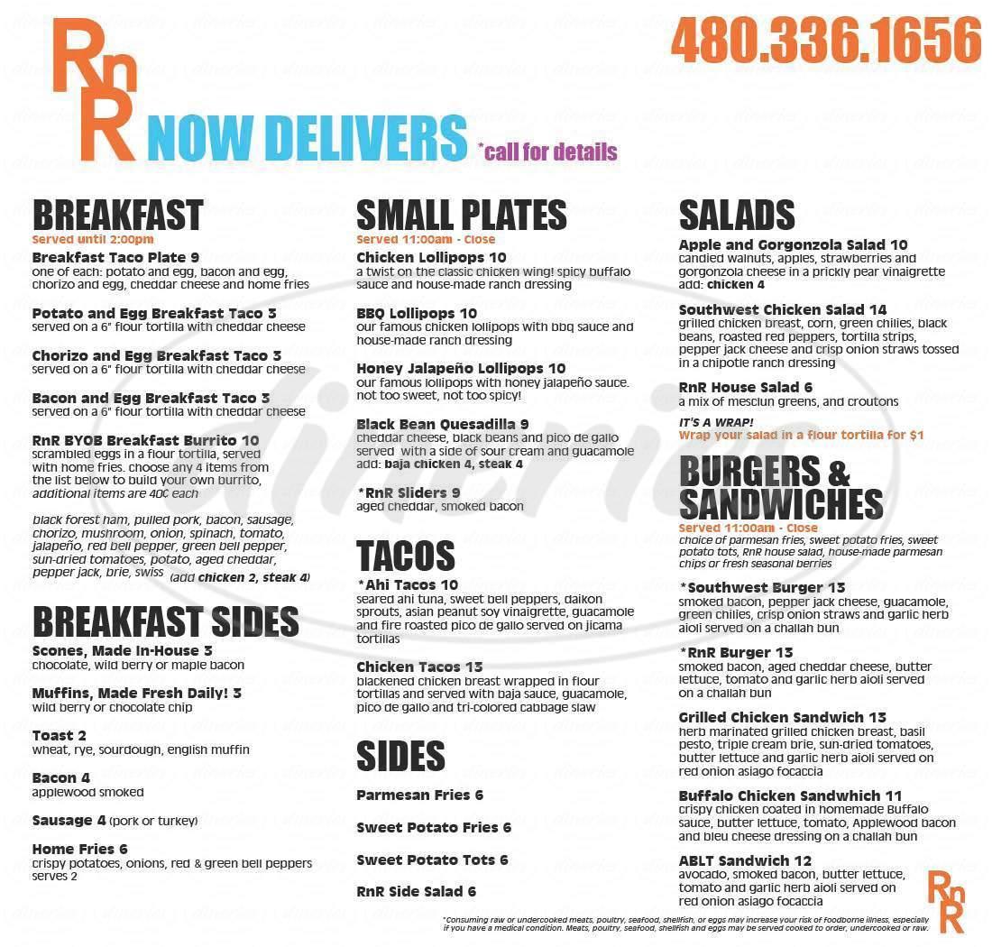 menu for RnR
