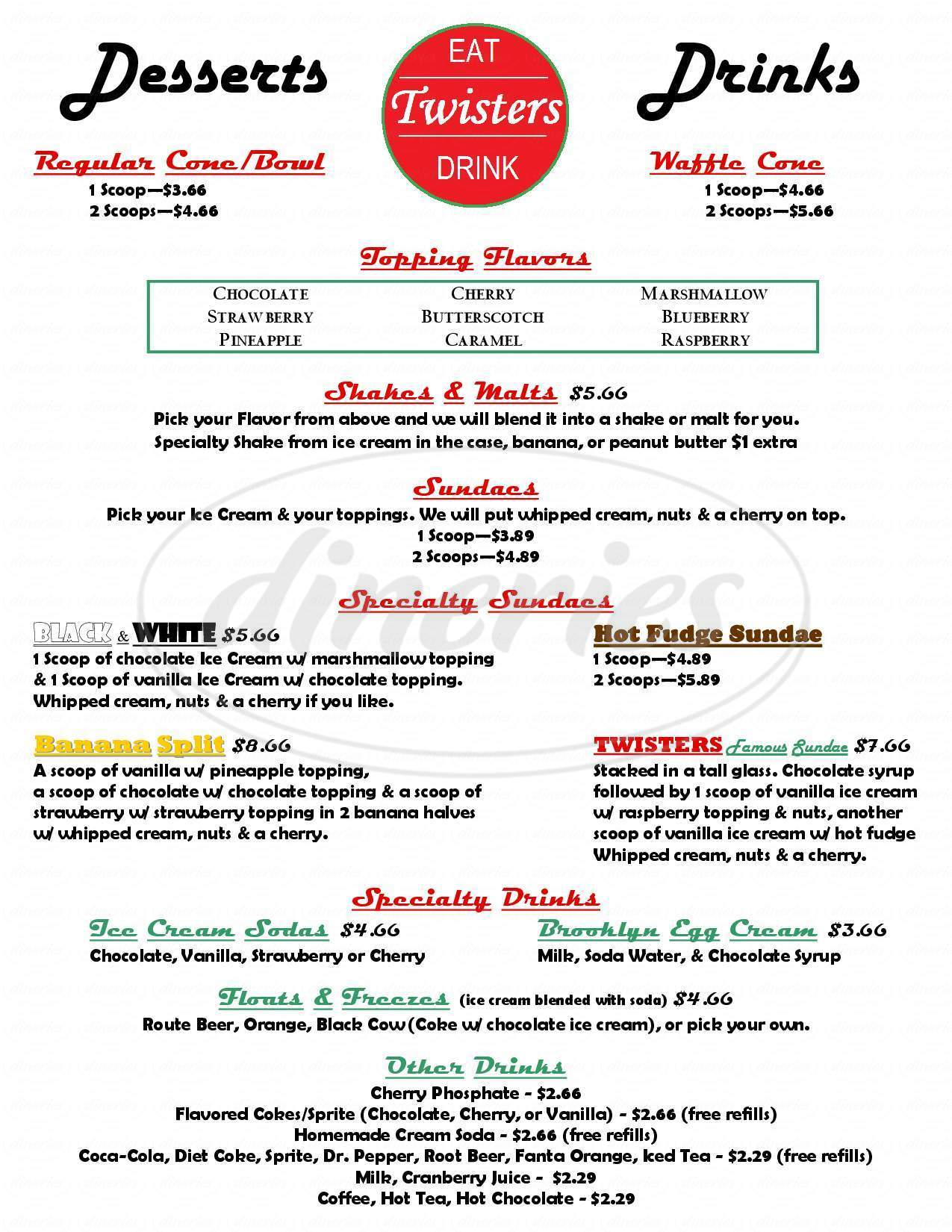 menu for Twisters 50's Soda Fountain
