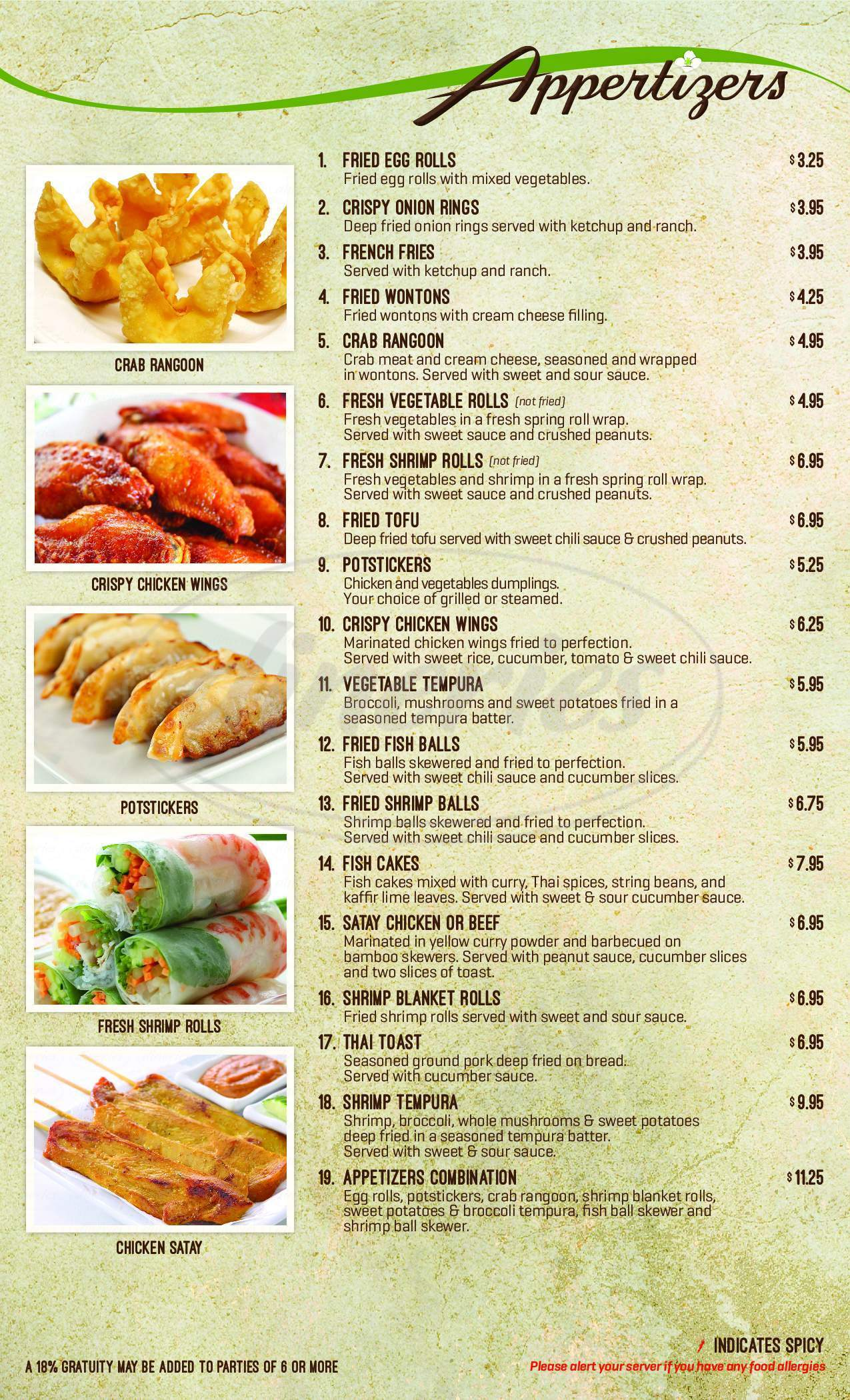 menu for Royal Jasmine Thai Restaurant