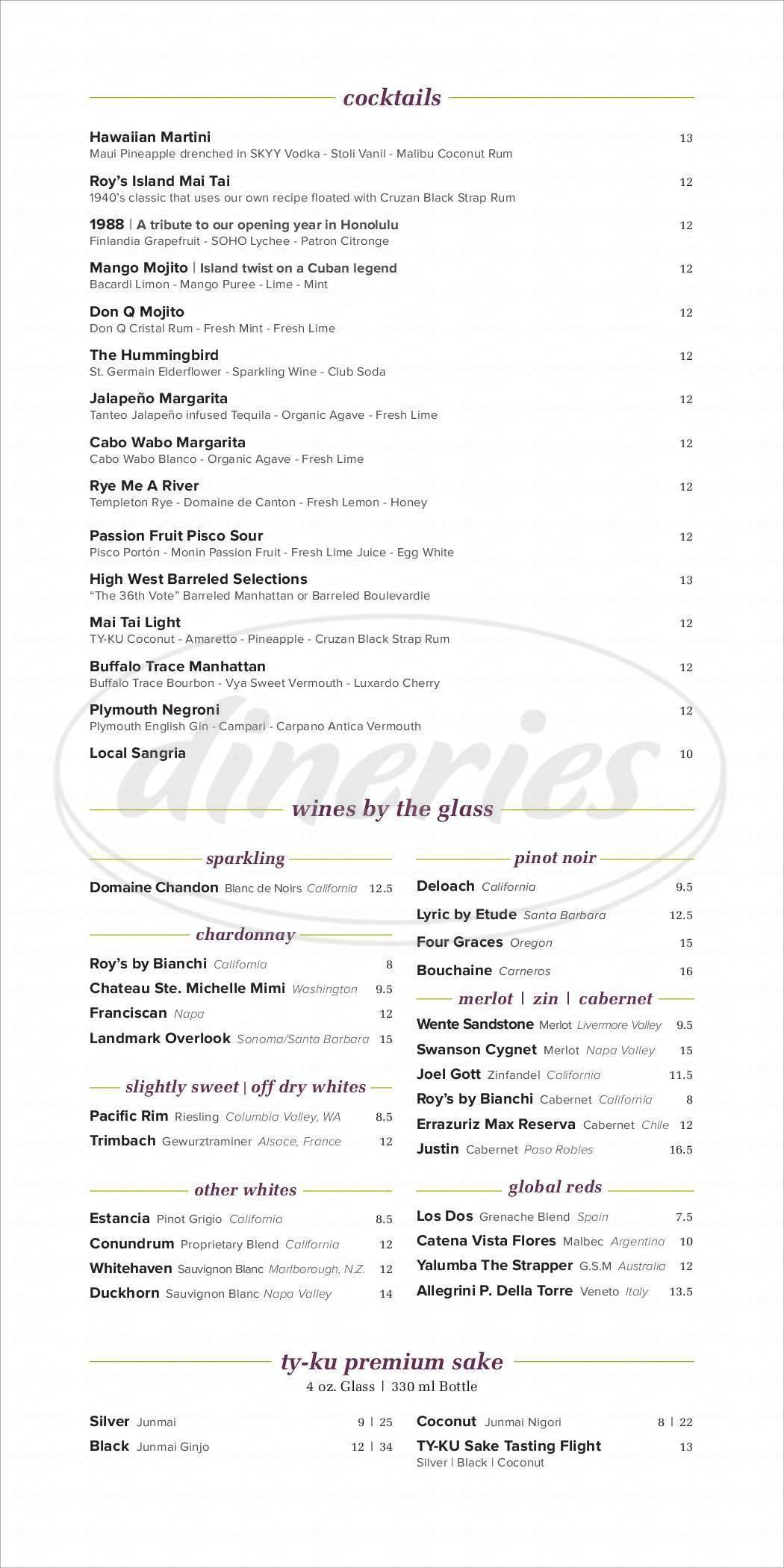 menu for Roy's Restaurant