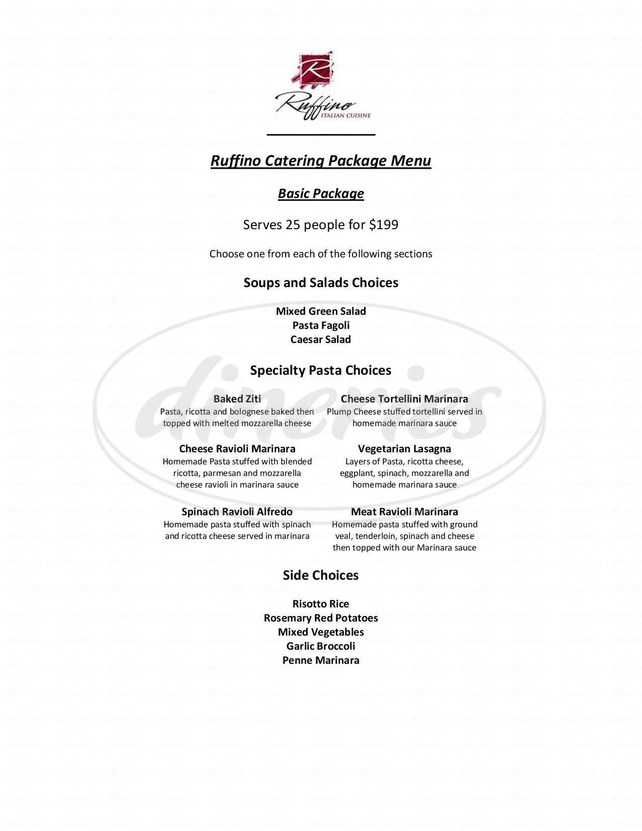menu for Ruffino Italian Cuisine