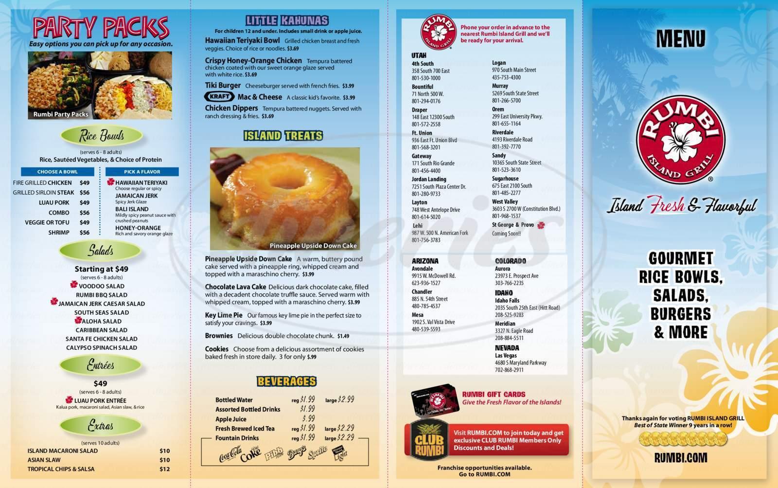 menu for Rumbi Island Grill