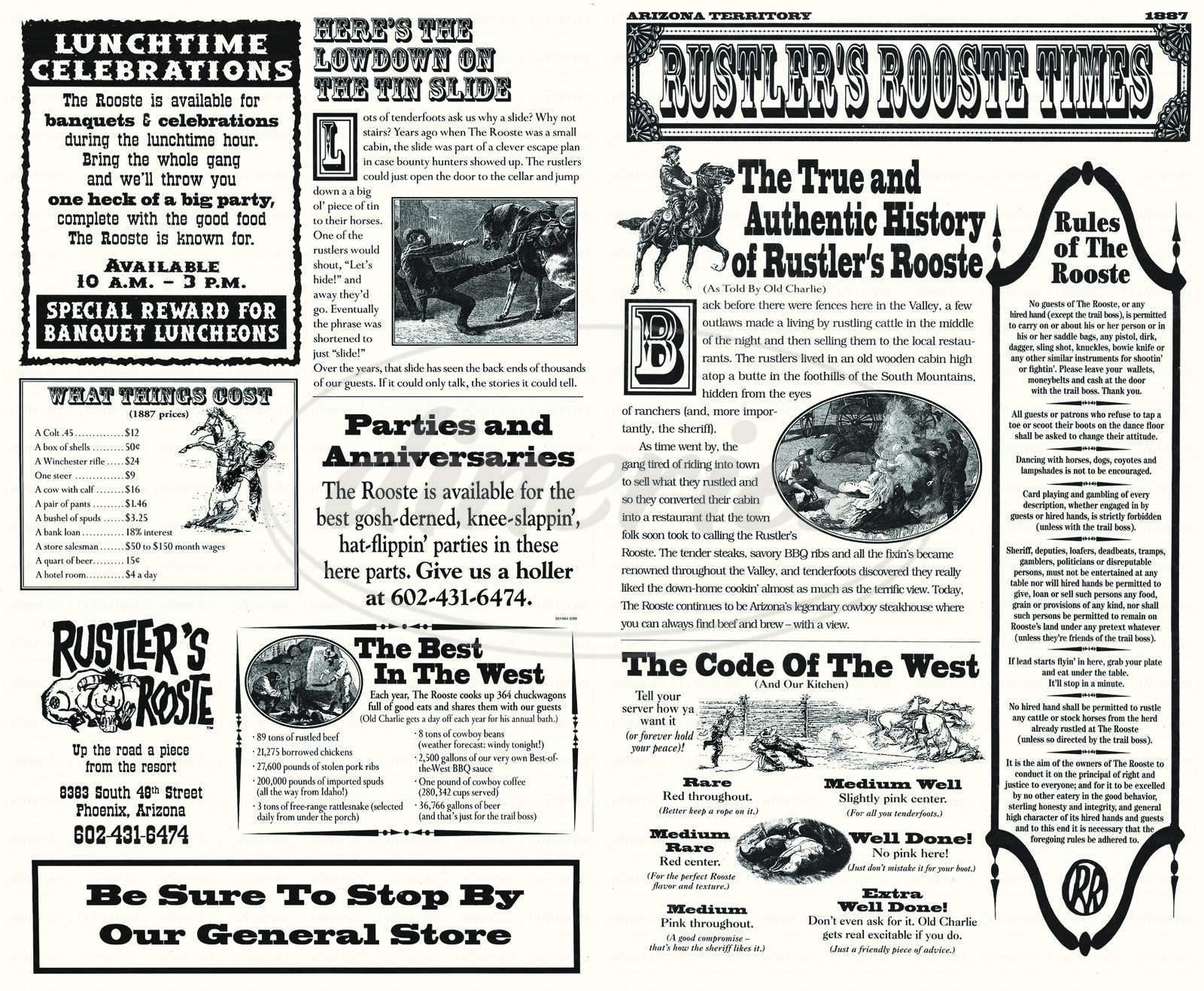 menu for Rustler's Rooste