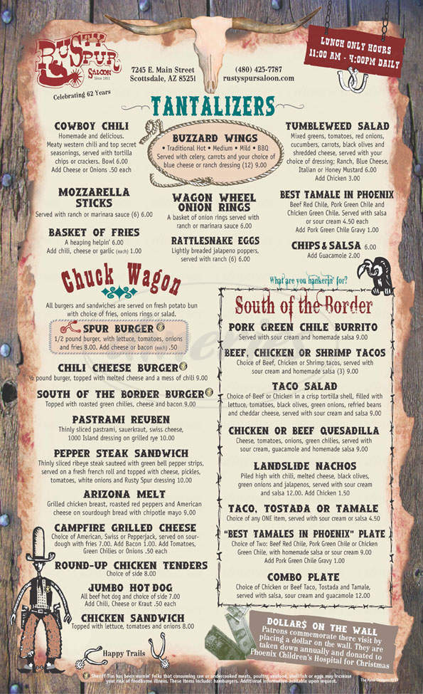 menu for Rusty Spur Saloon