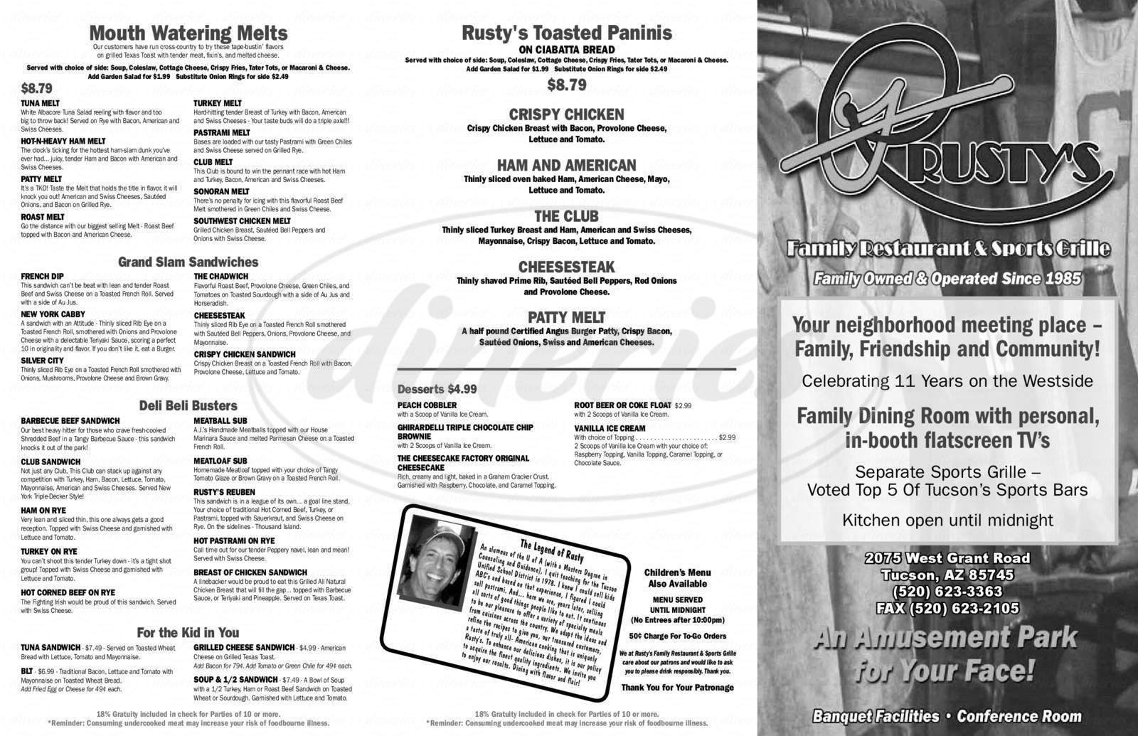 menu for Rusty's Family Restaurant & Sports Grille