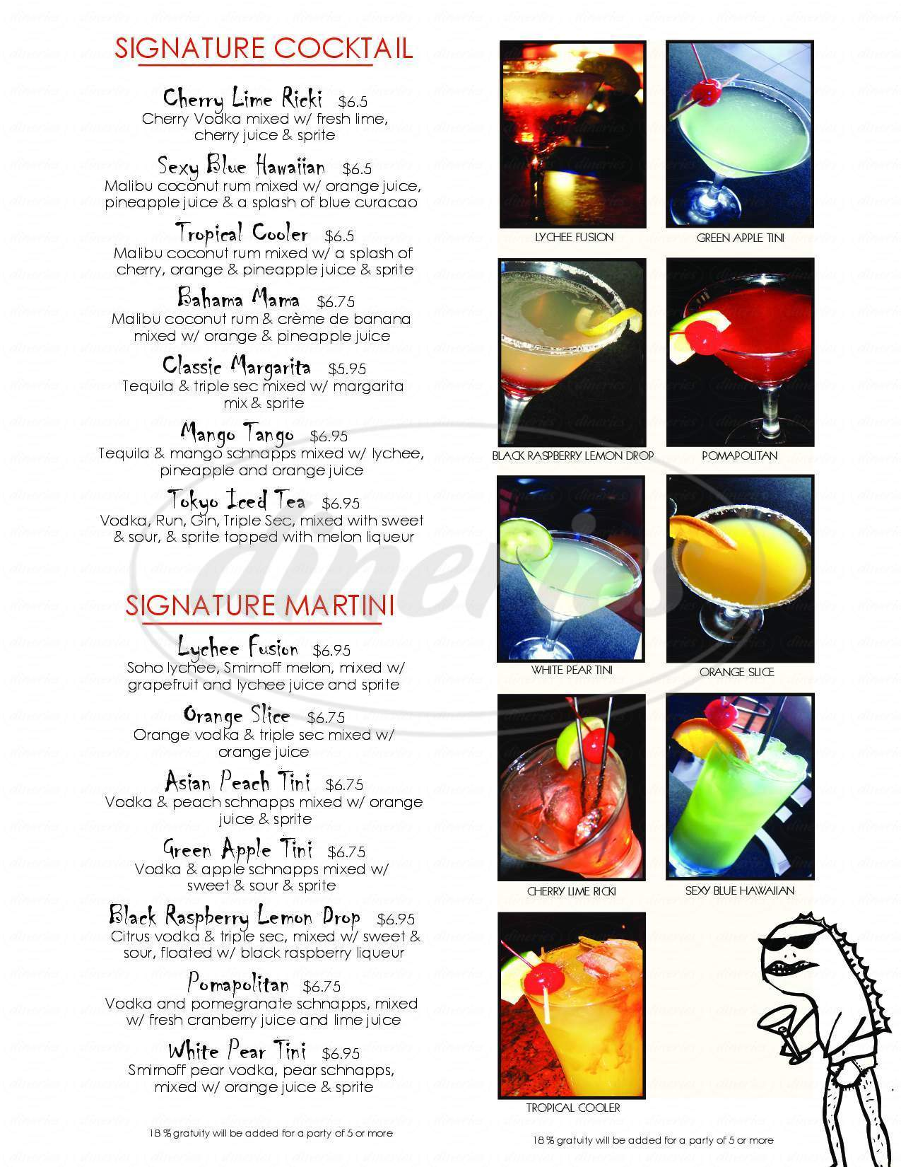 menu for SakeBomber Sushi & Grill