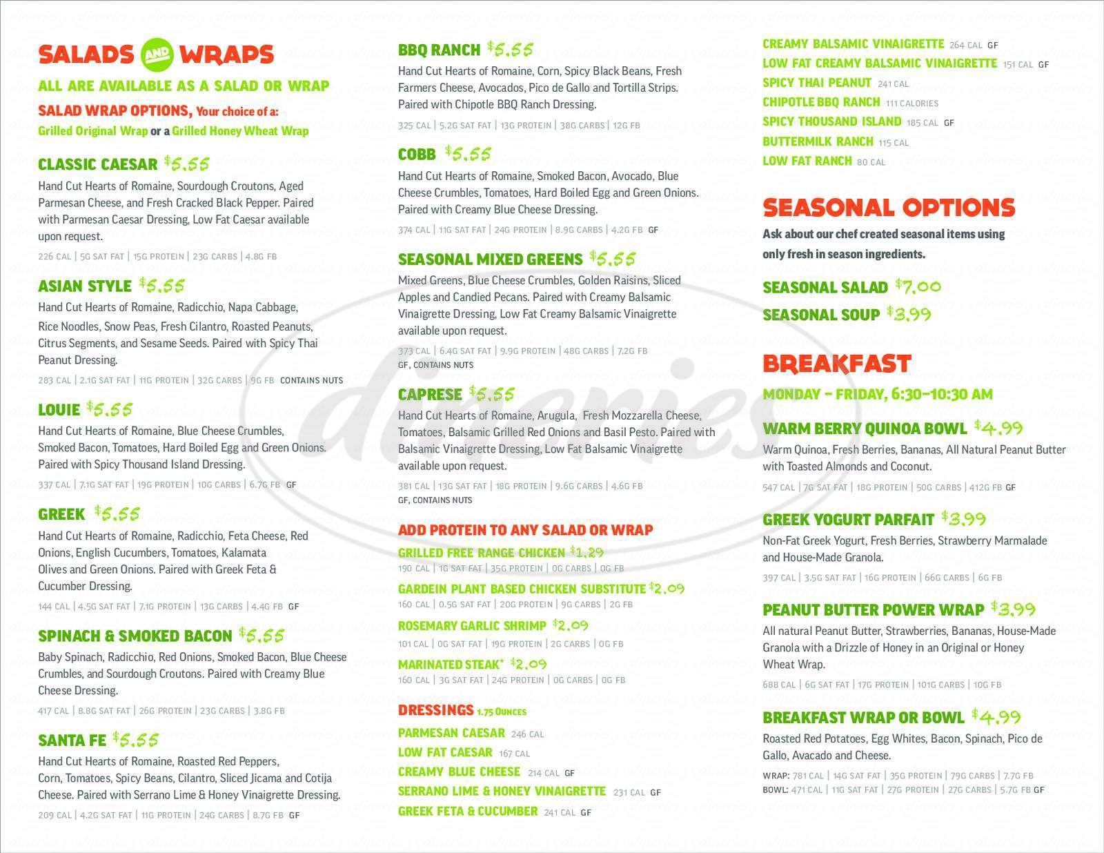menu for Salad and Go