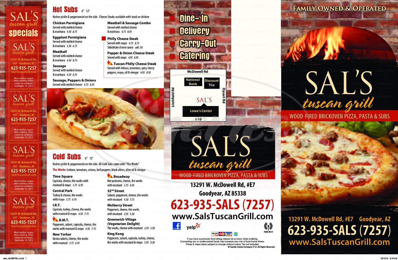 menu for Sal's Tuscan Grill