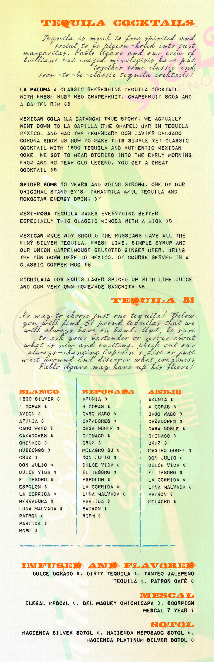 menu for Salty Senorita