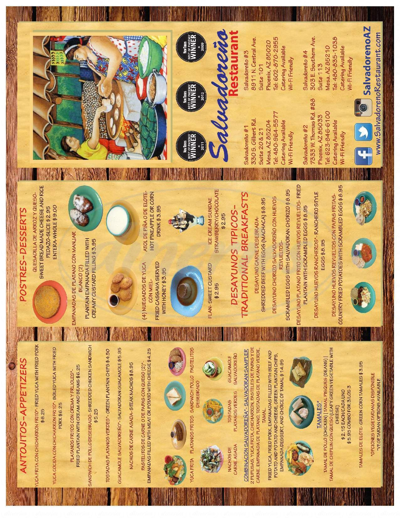 menu for Salvadoreno Restaurant