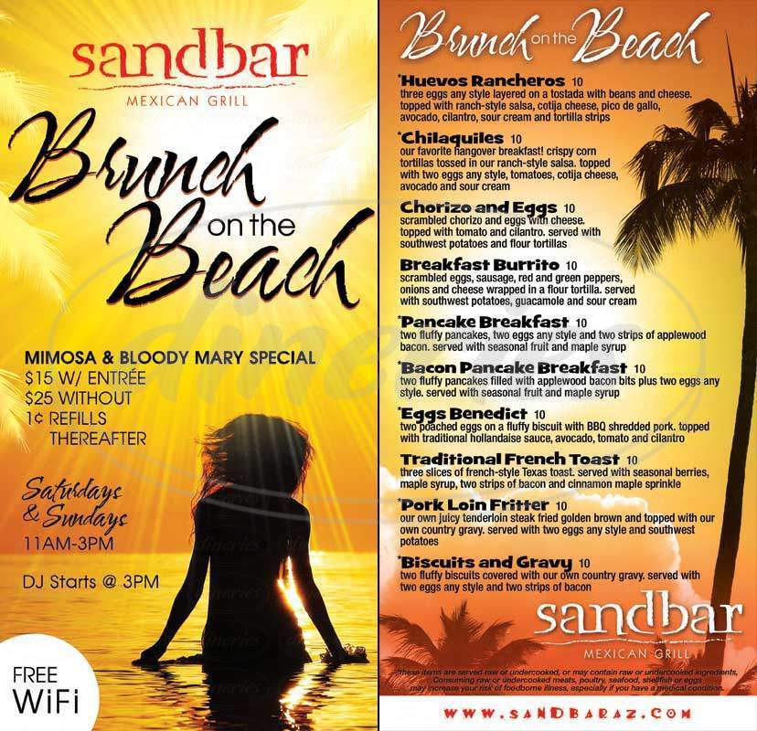 menu for Sandbar Mexican Grill