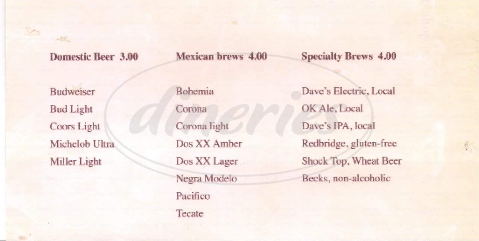 menu for Santiago's