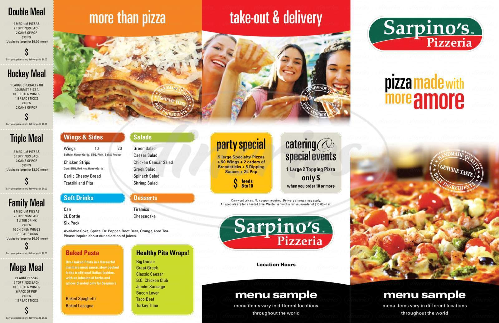 menu for Sarpino's Pizzeria