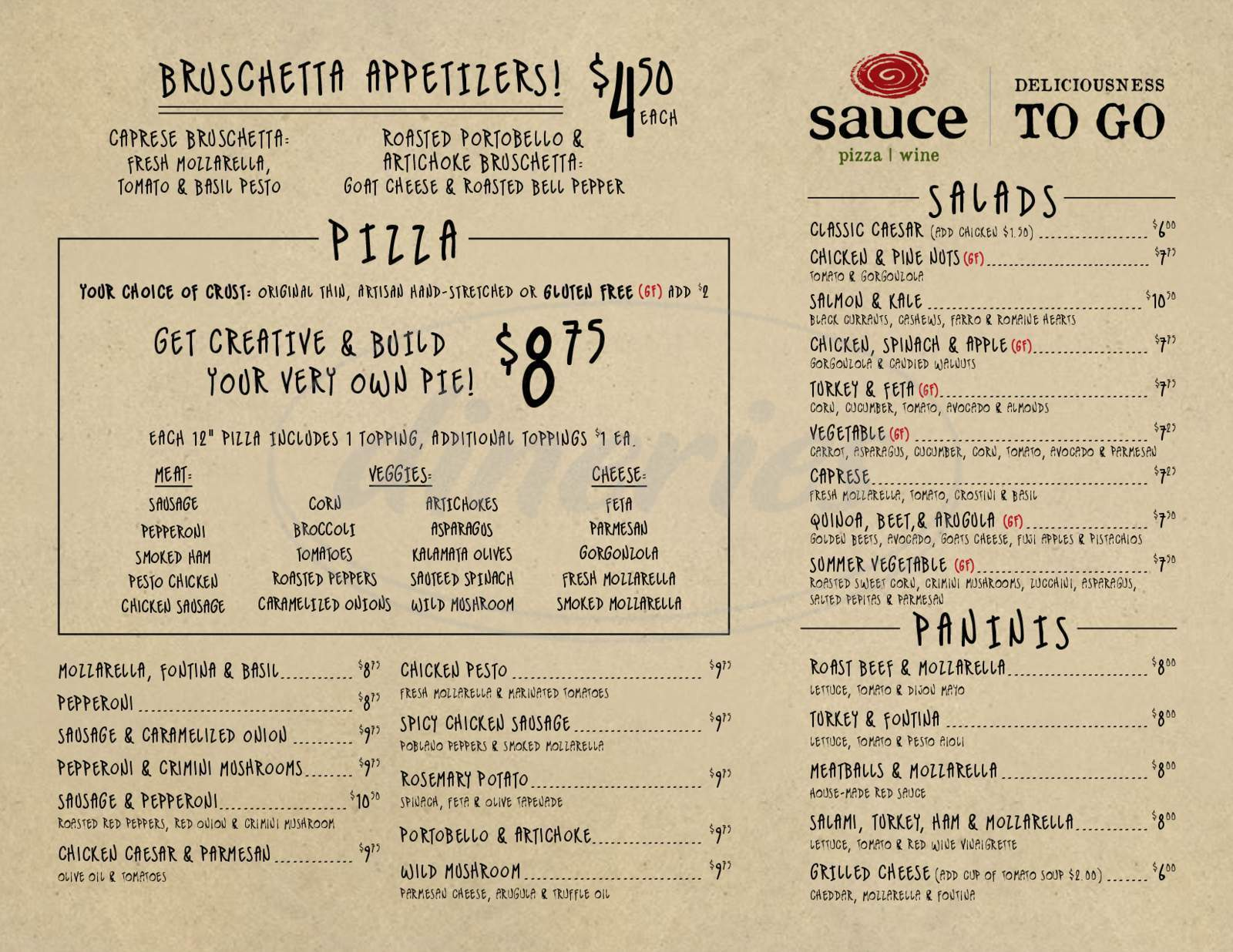 menu for Sauce Pizza & Wine