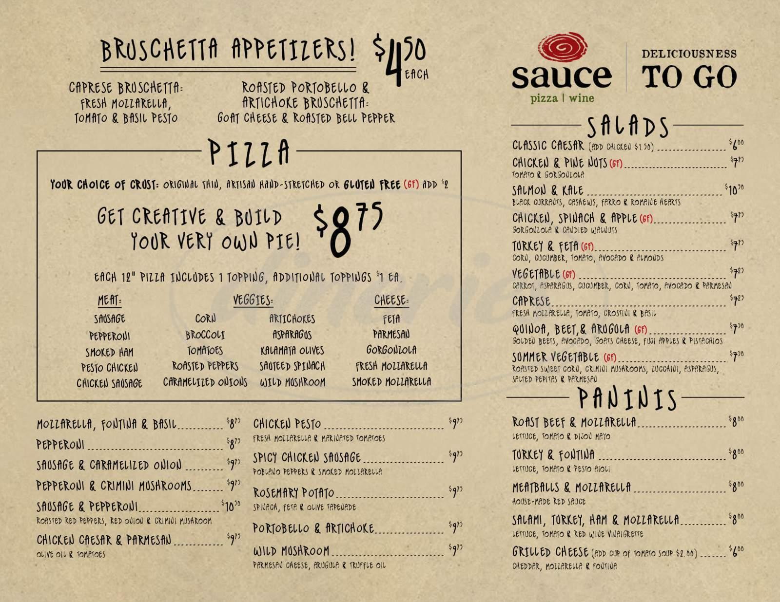 menu for Sauce