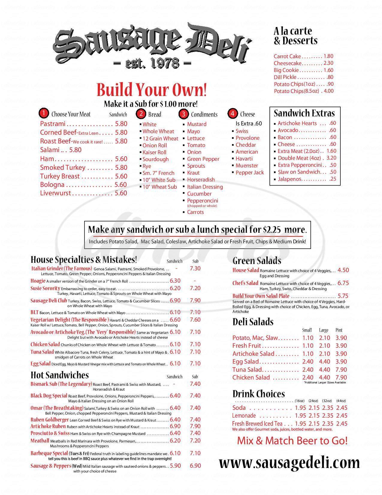 menu for Sausage Deli