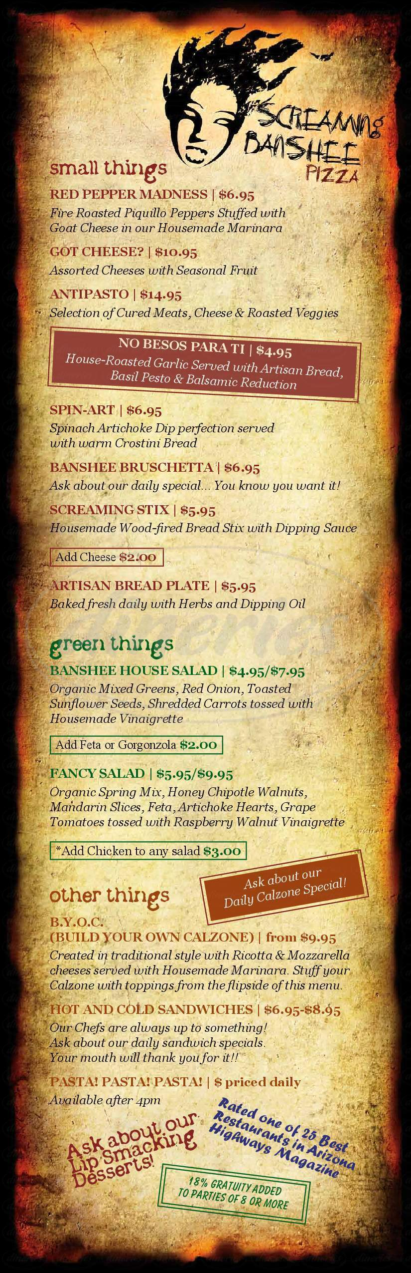 menu for Screaming Banshee Pizza