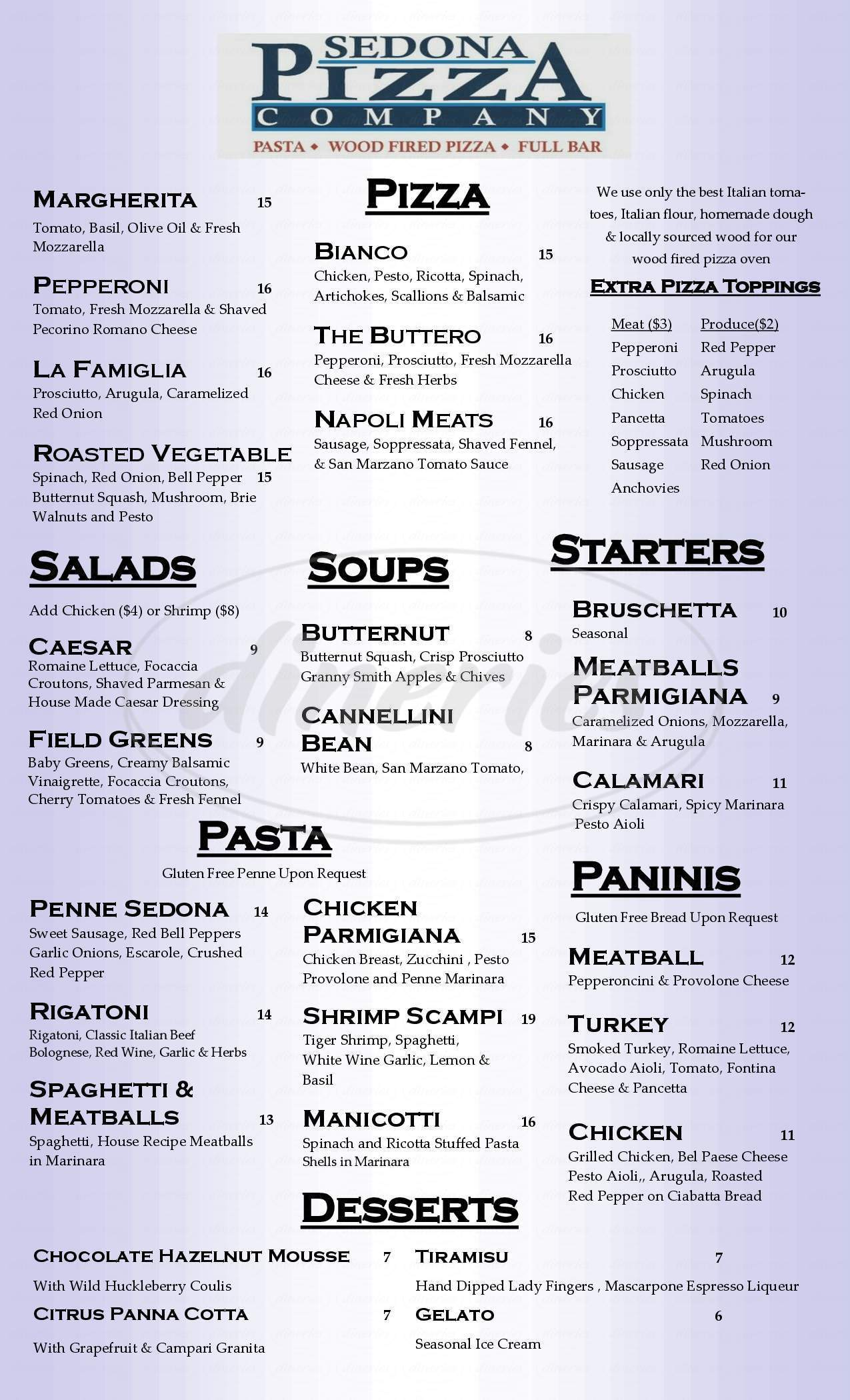 menu for Sedona Pizza Company