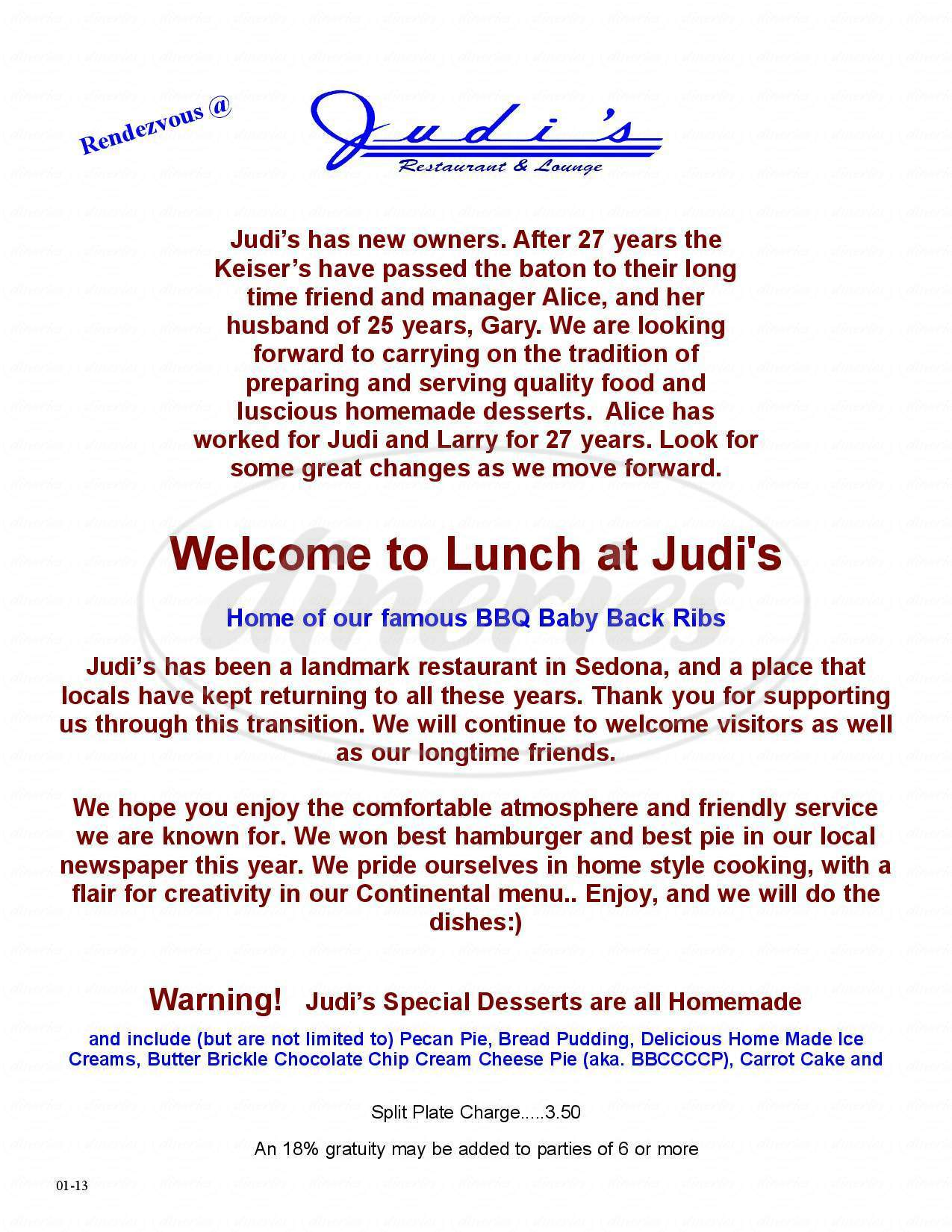 menu for Judi's Restaurant & Lounge