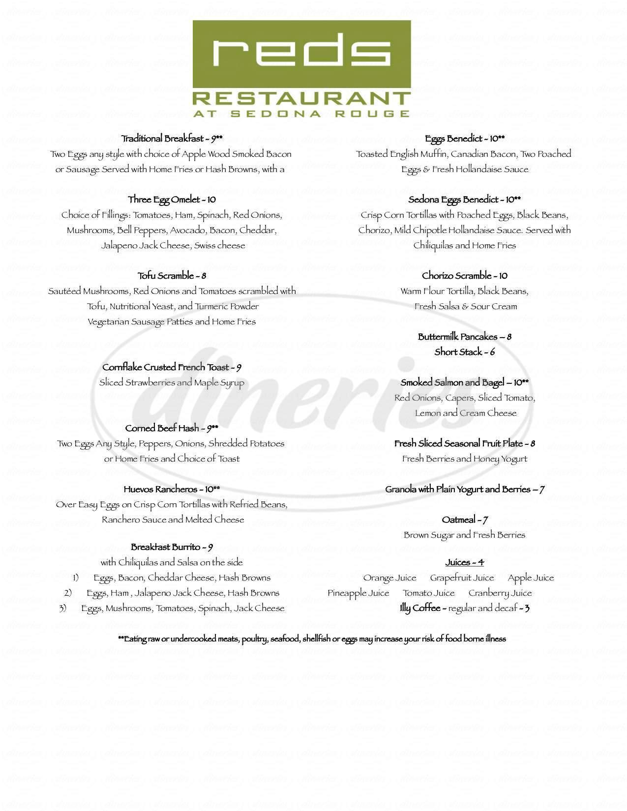 menu for Reds