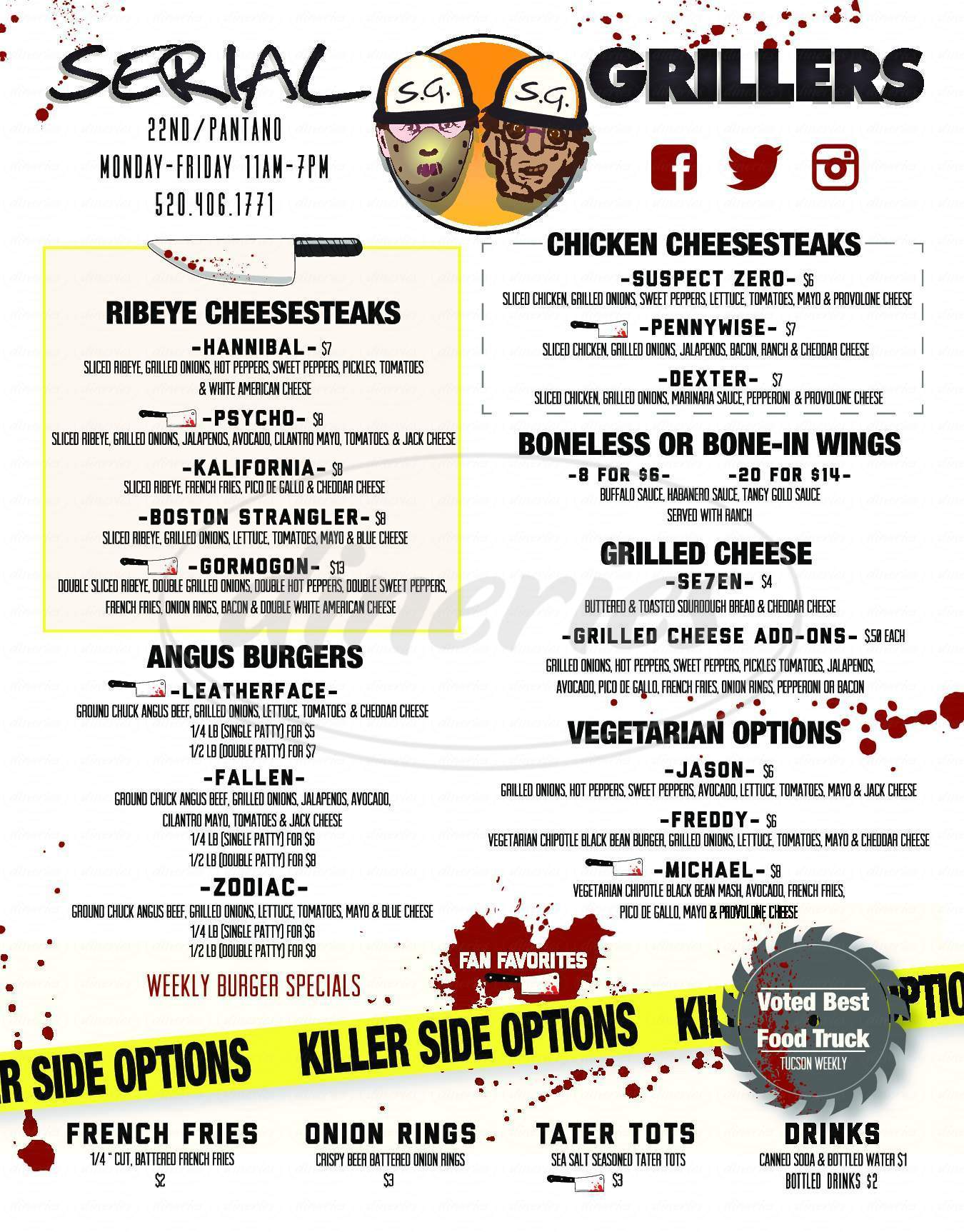 menu for Serial Grillers Pizza, Salads, Subs