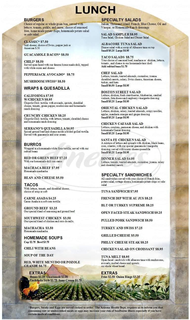 menu for Brunchies