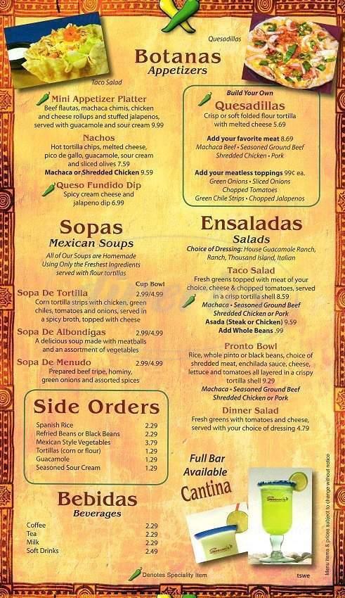 menu for Serranos Mexican Food