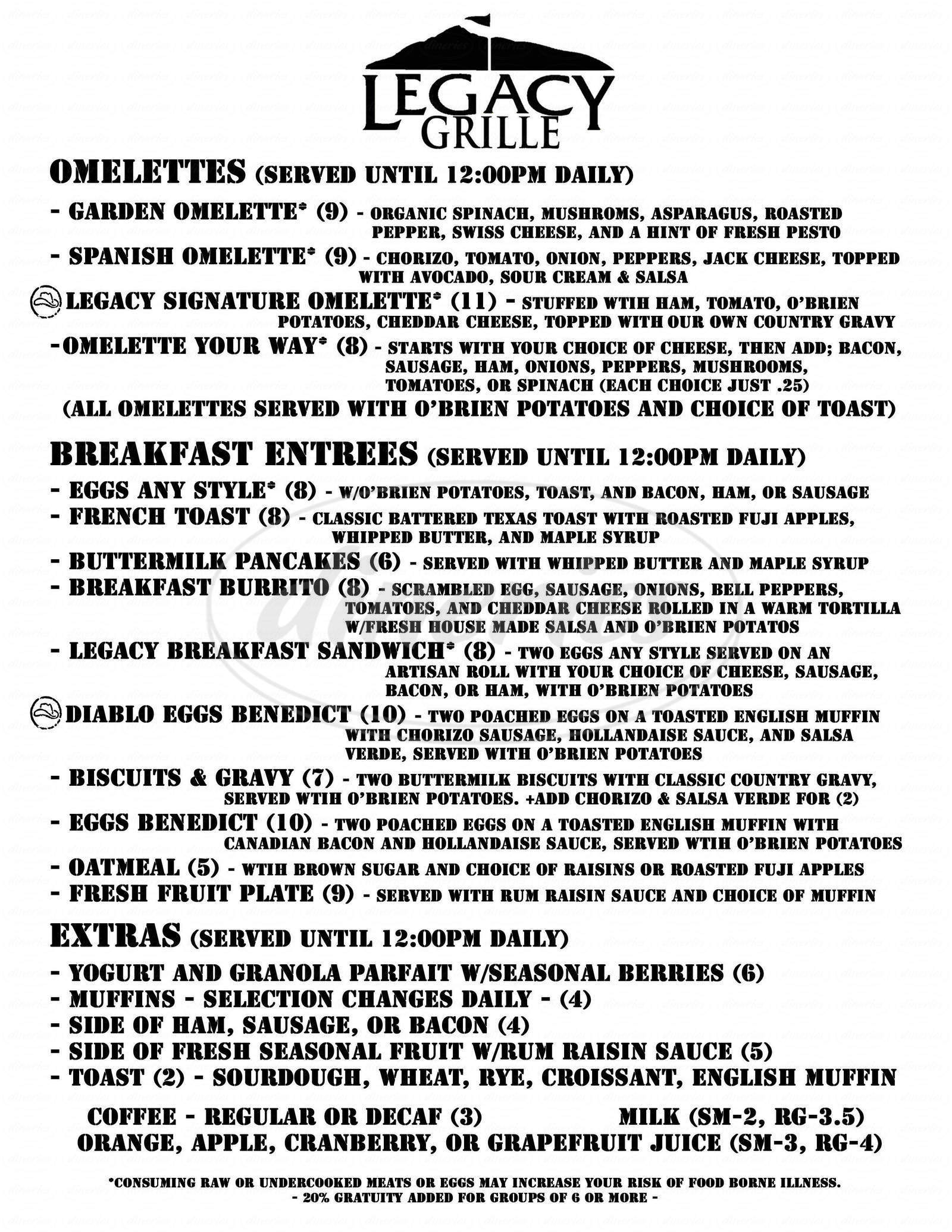menu for Trails End Bar & Grill