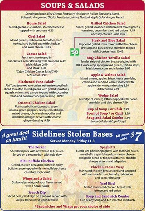 menu for Sidelines Tavern & Grill